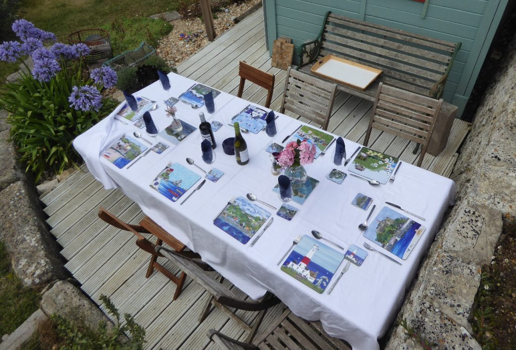 Placemats and Coasters on our Garden Table